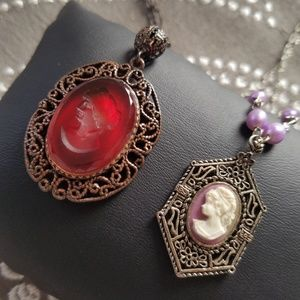 2 Vtg Cameo Necklaces